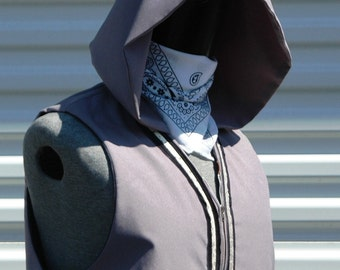 L Mens Vest with Hood Grey Ghost