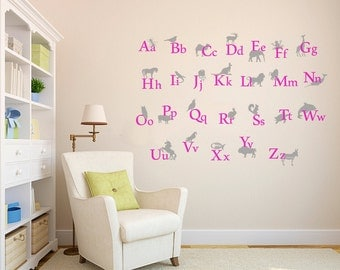 Back To  School Alphabet Vinyl Wall Decal A - Z  Kids Room, Play Room And Kindergarten Decoration, Animals Alfhabet - ID264