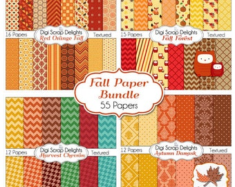 Fall Digital Papers Bundle w Leaf & Owls Clip Art for Digital Scrapbooking, Fall Card Making, Brown, Orange, Gold Linen Textured,