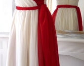 Vintage 1960's evening prom cocktail dress in white and red silk chiffon, UK size 12/14