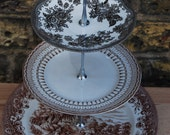 SALE - Vintage three tier mismatched English country chic cake stand