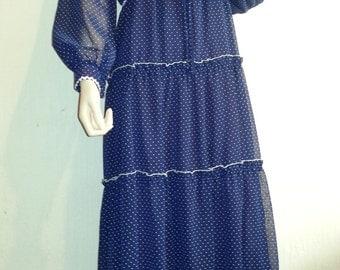 Blue & white spot maxi dress, 1970s
