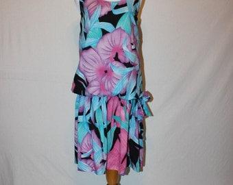 Vintage 1980's Tropical Print Dress - Sleevless Dress - Drop Waist -Large Jungle Print -  Pink and Teal