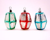 Vintage Figural Glass Lantern Christmas Holiday Ornaments