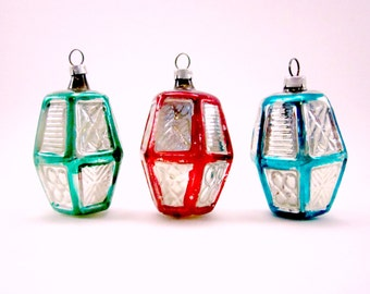 Vintage Figural Glass Lantern Christmas Holiday Ornaments