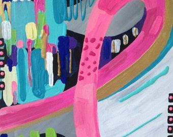 "Breast Cancer Awareness Pink Ribbon Abstract Painting Aqua Colorful Art canvas 12"" x 12"""