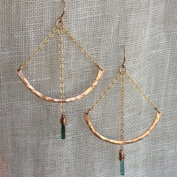 Pendulum Earrings in Bronze, gold and Green Tourmaline