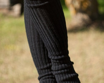Yoga socks spats / dance socks / leg warmers / boot socks - Black very long knee high knit YOga clothing yoga gift Accessories Women legwear