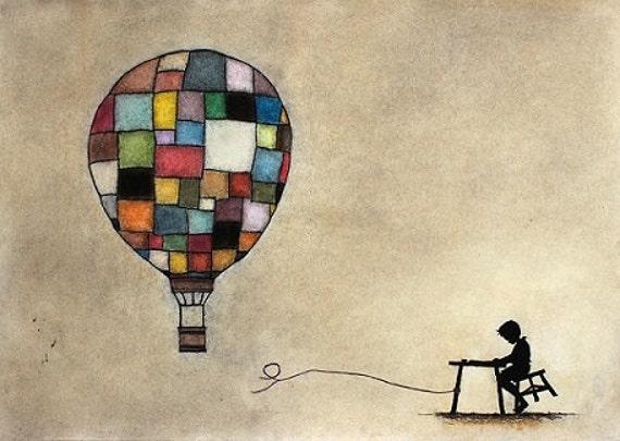 Art Print - Patchwork Boy Hot Air Balloon. I'm Gonna Be An Air Balloon Captain When I Grow Up