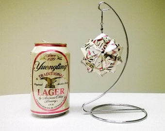 Yuengling Can Origami Ornament.  Upcycled Recycled Repurposed Art // Valentines Day // weird gifts