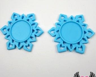 SNOWFLAKE STAR CAMEO SeTTING Light Blue 4pc Fits 25mm Cameos, Resin Cameo Setting, Blank Frame, Bezel Pendant