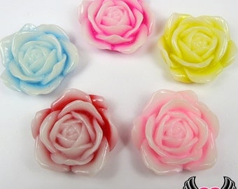 34mm 2-Tone ROSE Flower Cabochons (5 pieces), Rose Cabochons, Decoden Flatback Kawaii Cabochons