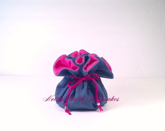 Jewelry Pouch Denim with Pink / Travel Jewelry Organizer / Cosmetic Bag / Denim Lined in Bright Pink