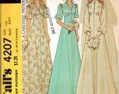 "1970s Wedding Dress, Bridal Gown & Bridemaids Dress Pattern - Size 10 Bust 32 1/2"" - McCall's 4207"