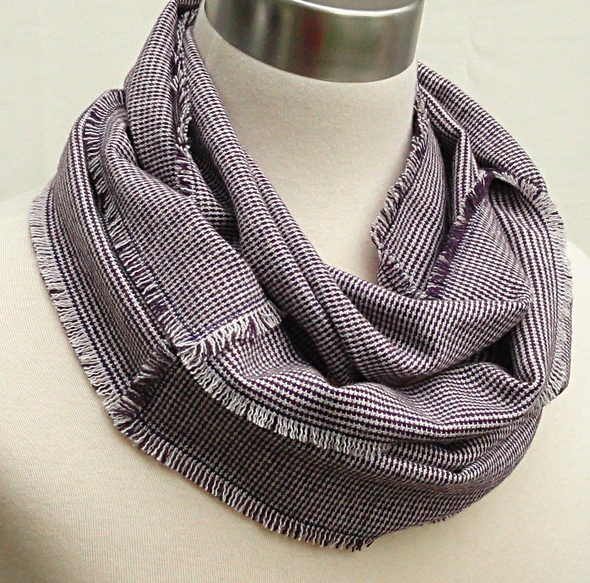 sale plum plaid wool infinity scarf woven wool circle