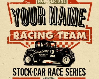 """your name on a personalized Stock Car - Racing team champion POSTER - 12""""x18"""" - gift - custom"""