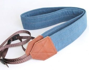 Linen Camera Strap - Textured French Blue with Russet Brown Leather
