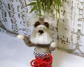 Schnauzer Puppy, Needle Felted Schnauzer, Handmade Schnauzer