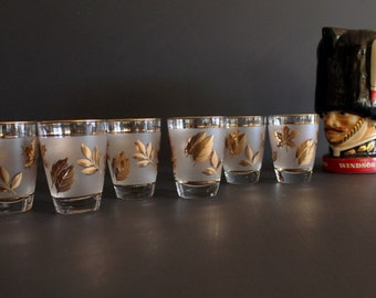 Vintage Mid Century Gold and Frosted Glass Autumn Leaf Pattern Saldon Juice Glasses Set of 6