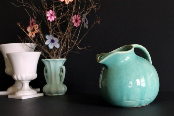 Nelson McCoy Pottery Turquoise Ball Pitcher Harlequin Unusual Vintage Tableware