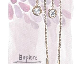 Threader diamond earrings, Bezel set earrings, Solitaire diamond chain earrings, 18k gold and diamond long chain earrings, Bride earrings