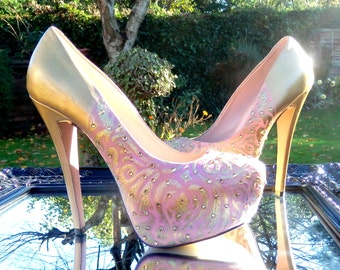 Bridal Couture Gold & Vintage Pink Shoe