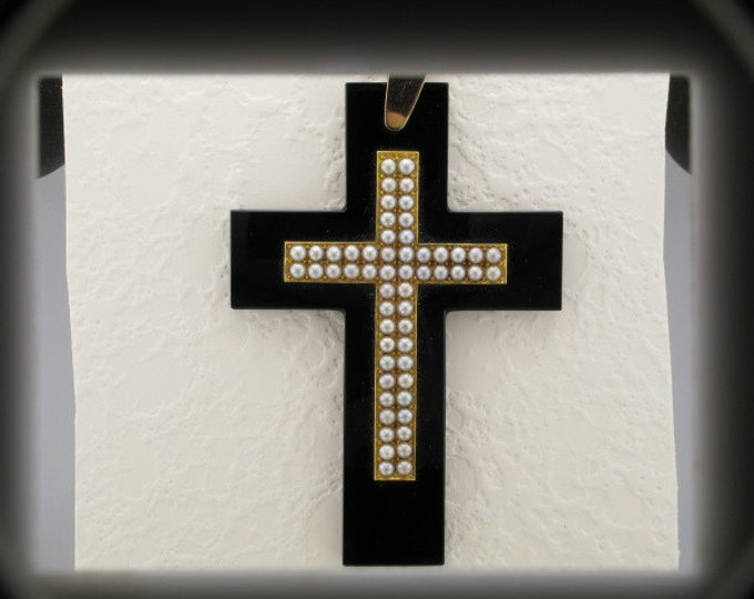 14 Karat Yellow Gold Black Onyx and Pearl Cross Pendant