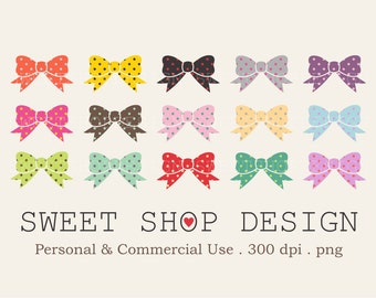 Polkadot Bows Clip Art, Printable Clip Art, Royalty Free Clip Art, N02, Instant Download