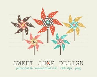 Pinwheels Clip Art, Printable Clip Art, Royalty Free Clip Art, Set 3, Instant Download