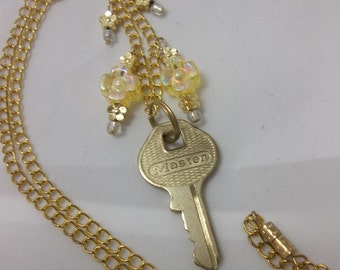 OOAK Upcycled Golden Key Necklace - Flower Key Necklace - Gold Key Pendant