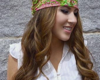 Garden Floral Chiffon headwrap,  Boho Hippie Head wrap