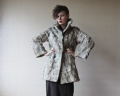 Grey beige curly Persian lamb fur coat Small
