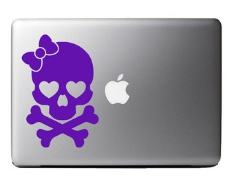 Skull and Crossbone Hearts and Bow Vinyl Decal Sticker Skin for Apple MacBook Pro Air Laptop iPad