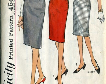 Simplicity 4529 Slim Wiggle Skirt early  60's Sewing Pattern