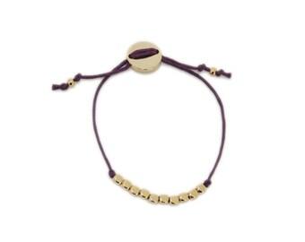Purple Cotton Cord Bracelet with Golden Beads