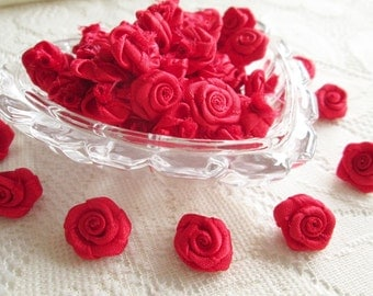 Red Love Rose Ribbon , red bow, red rose, 50 pcs. rose applique, fabric rose, ribbon, fabric bow, wedding, party, card decorate, party