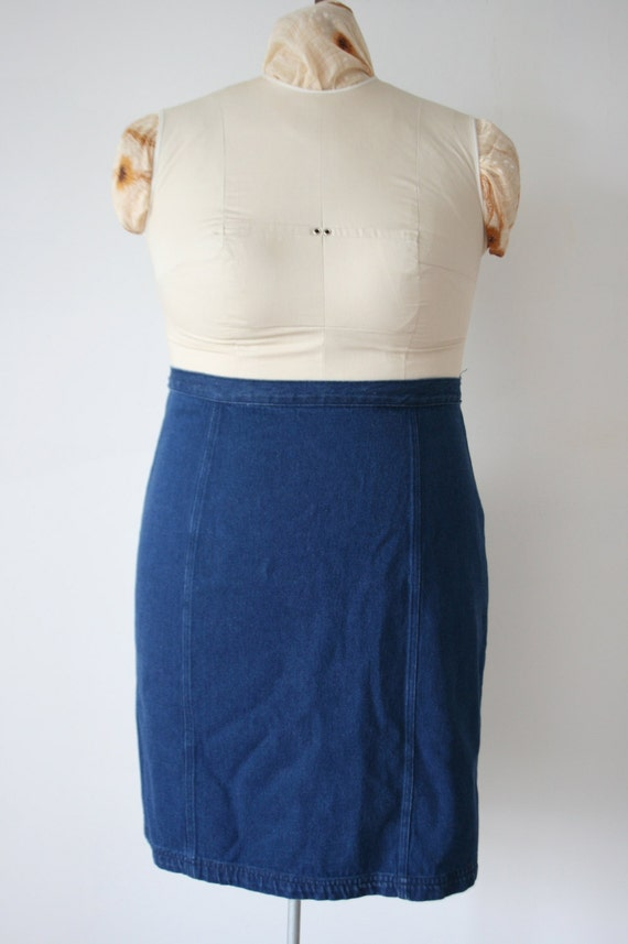 plus size high waisted blue denim pencil skirt by