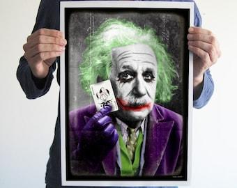 Einstein is the Joker, Albert Einstein poster ,digital print, funny, gift, geek, geeky, batman