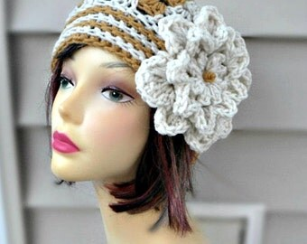 Womens Corchet Hat, Beanie Hat with Flower, Womens Accessories, Winter Hats-the marble