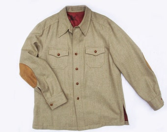 Vintage 70's Men's Wallachs Wool Shirt Jacket with suede patches