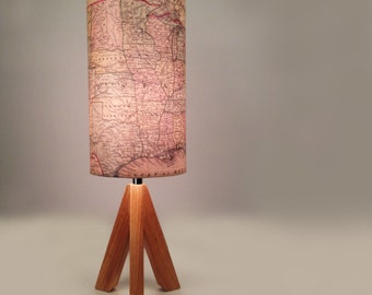 """Vintage Style USA Map lamp """"American Road Trip"""""""