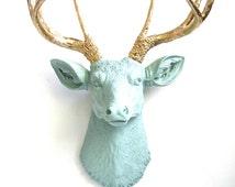 LIGHT GREEN GRAY with gold antlers Faux Taxidermy Deer Head Deerman the Deer Head wall hanging wall mount