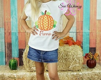 Pumpkin shirt or one piece bodysuit- Fall Shirt- Thanksgiving Pumpkin shirt- Polka Dot pumpkin- Girl's Fall shirt- Monogram Pumpkin- Girl