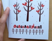 Holiday Birds Greeting Card in Red, Brown and White (Blank) 4x6