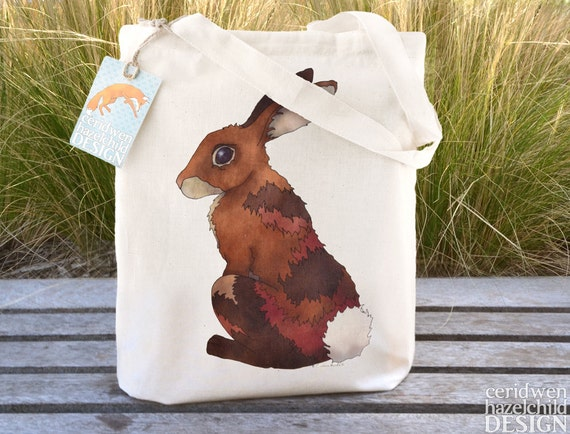 Bunny Rabbit Tote Bag, Ethically Produced Shopping Bag, Reusable Shopper Bag, Cotton Tote, Shopping Bag, Eco Tote Bag