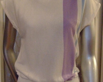 Vintage 1980s Knit Sleeveless Lilac & White Stripe Top by Dominant Size M