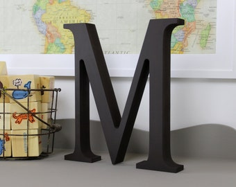 Wood Letters - Free Standing Distressed Wooden Letters - Alphabet Decor Letter M