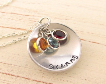 Granny Birthstone Necklace Personalized Granny Necklace Grandmother Jewelry Hand Stamped Mothers Jewelry Gift for Granny~Mothers Day
