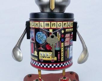 """Robot Sculpture """"Thrusty"""" Found Object Art - Junk Art - Folk Art"""