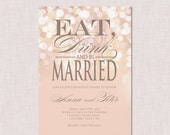 Sample of the Rehearsal dinner invitation - Gold and Blush Bokeh